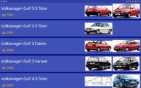 Typische Ansicht der Fahrzeugdatenbank